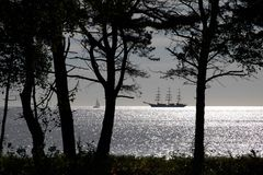 Clipper on the coast of Bornholm Stock Photography