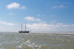 Clipper on Dutch wadden sea Royalty Free Stock Photos