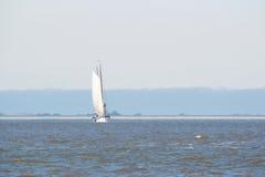 Clipper on Dutch wadden sea Royalty Free Stock Photo