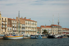 Clipper in the Harbor. Of Sete, southern France Royalty Free Stock Image