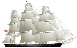 Clipper sailing ship, Tea clipper Royalty Free Stock Photography