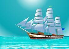 Clipper Sailing Tall Ship, Illustration Stock Photo
