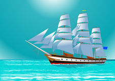 Clipper sailing tall ship,  illustration Stock Photo