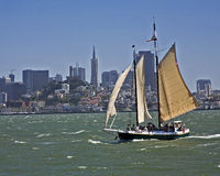 Clipper in San Francisco bay. Sailing ship tours in front of the downtown San Francisco cityscape Stock Photography