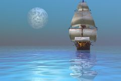 Clipper Schip royalty-vrije illustratie