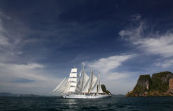 Clipper ship under full sail Royalty Free Stock Image