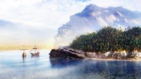 Clipper Ships Coast. Clipper ships near a tropical coast Stock Photos