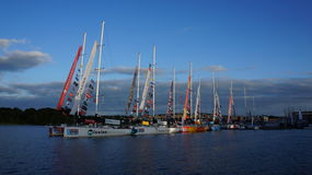 Clipper Yacht Race docks at Derry / Londonderry. The round the World Clipper Yacht Race boats docked at Derry / Londonderry's marina harbour during the Clipper Stock Photography