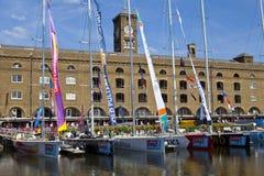 Clippers bij St Katherine Dock in Londen wordt vastgelegd dat Royalty-vrije Stock Foto's