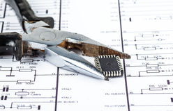 Clippers closeup clamped chip  Royalty Free Stock Photos
