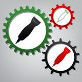 Clipperteckenillustration vektor Tre förbindelsekugghjul med ic stock illustrationer