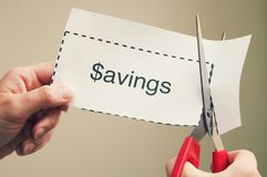 Clipping Coupon Savings royalty free stock photography