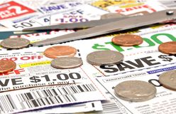Clipping coupons royalty free stock photo