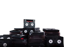 (With Clipping path) Abandoned pile of old useless mini DV. (with clipping path)Abandoned pile of old useless mini DV (video cassette tape or betamax) on white royalty free stock images