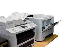 Clipping path printer document in office equipment Royalty Free Stock Image