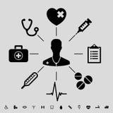 clippingen innehåller seten för banan för den digitala symbolsillustrationen den medicinska Arkivbilder