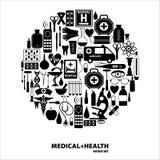 clippingen innehåller seten för banan för den digitala symbolsillustrationen den medicinska Arkivfoton