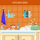 clippingmappen inkluderar kökbanavasken Arkivbild