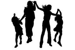 clippingvänner som hoppar banasilhouetten Fotografering för Bildbyråer