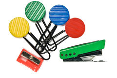 Clips. Color clips and staple on white background Royalty Free Stock Photos