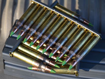Clips of 5.56mm ammo. Stripper clips of 5.56mm rifle ammunition Royalty Free Stock Images