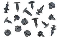Clips or auto plastic fasteners Royalty Free Stock Photos