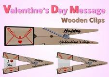 Clips de madera de los mensajes del día de tarjeta del día de San Valentín stock de ilustración