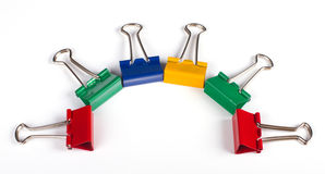 Clips de papel multicolores Fotografía de archivo libre de regalías