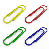 Clips de papel multicolores Fotografía de archivo