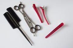 Clips del peine de las tijeras de las herramientas de los peluqueros Imagen de archivo