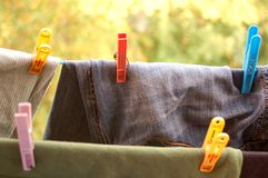 Clips for the laundry Royalty Free Stock Image