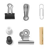 Clips set and office supplies. Vector illustration. Stock Photo