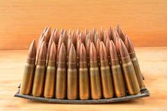Clips  of 7.62x39 caliber ammunition Stock Photos