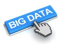Cliquant sur de grandes données se boutonnent, 3d rendent Images stock