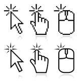Clique aqui cursores do rato ilustração stock