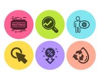 Clique aqui, dos ícones do desconto e da analítica grupo Roda denteada, Fastpass e sinais da água Recycle Vetor ilustração do vetor
