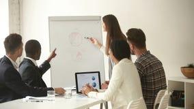 Clique do equipe de projeto que discute cartas do stats durante a instrução no escritório vídeos de arquivo
