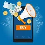 Clique móvel do pagamento para comprar o comércio em linha do telefone da transação Fotos de Stock Royalty Free