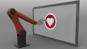 Clique robótico do braço coração-dado forma como o botão Conceito social automatizado da promoção dos meios Dar laços sem emenda, ilustração stock