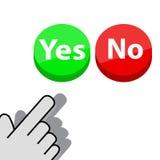 Clique sobre o botão sim ou não Ilustração Stock