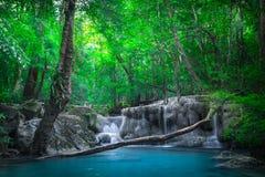 Cliquetez le paysage avec la cascade d'Erawan Kanchanaburi, Thaïlande Photos libres de droits