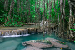 Cliquetez le paysage avec la cascade d'Erawan Kanchanaburi, Thaïlande Photo libre de droits