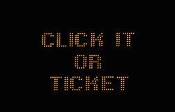 Cliquetez lui ou le signe de billet Images stock