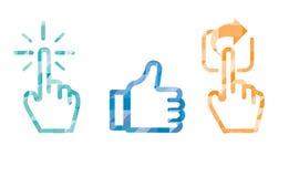 Cliquez sur comme l'icône de part dans la couleur bleue, curseur de main et aimez le pouce illustration de vecteur