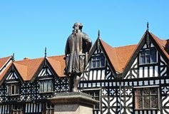 Clive of India Statue, Shrewsbury. Clive of India statue (Robert Clive) in the Square with timber framed buildings to the rear, Shrewsbury, Shropshire, England Royalty Free Stock Image