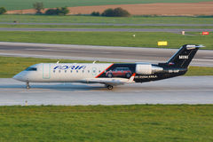 CLJ Adria. PRAGUE, CZECH REPUBLIC - APRIL 23: Adria Airways Challenger lands at PRG Airport on April 23. Adria Airways is the Slovenian national airline., 2014 royalty free stock image