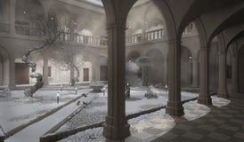 Cloître antique, scène d'hiver illustration de vecteur