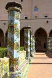 Cloître de Santa Chiara, Naples, Italie photo stock