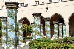 Cloître de Santa Chiara, Naples, Italie image stock