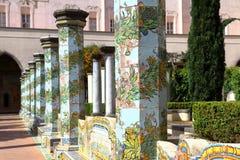 Cloître de Santa Chiara, Naples, Italie photographie stock